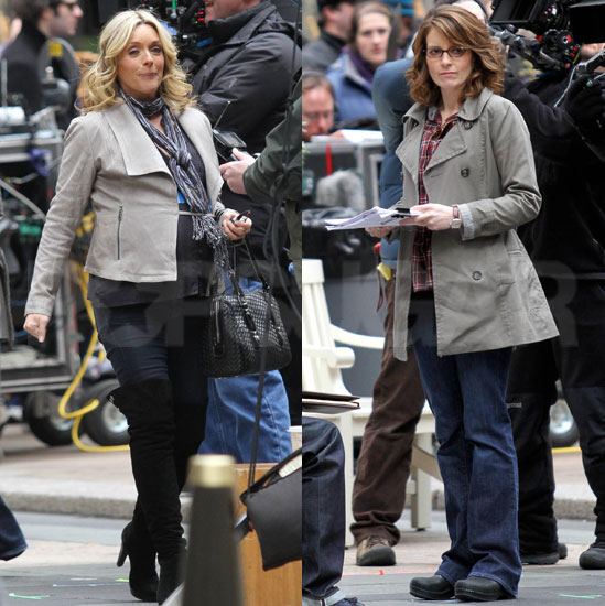 Pictures of Pregnant Jane Krakowski Filming 30 Rock With Tina Fey