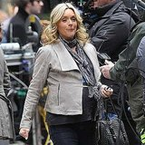 Jane Krakowski Tries to Keep Her Bump Under Wraps on Set With Tina Fey