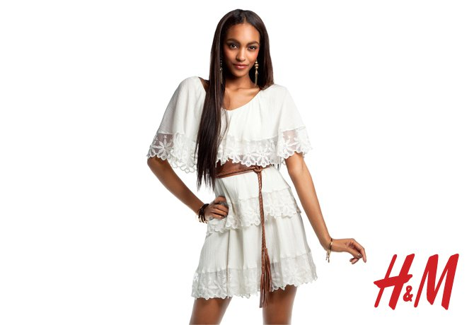 This tiered white dress is begging for a balmy rooftop party.