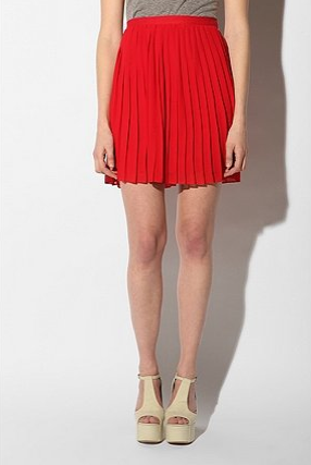 Add a sweet pop of color to your Spring wardrobe with this Sparkle & Fade Pleated Chiffon Miniskirt ($49).