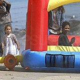 Halle and Nahla Have a Bouncing Birthday Celebration by the Beach!