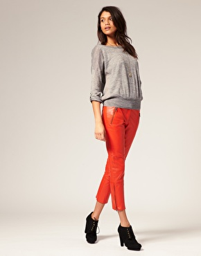 We love the bright red hue and cropped cut. Pair it with cute oxfords for a casual look and with pointy toe pumps, à la Isabel Marant, for a throwback uptown feel.  Vero Moda Very Cropped Leather Pants ($305)