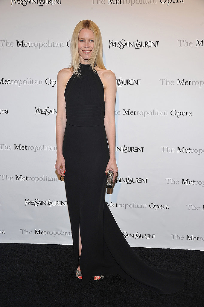Claudia Schiffer proved that a classic black halter gown still delivers punch on the red carpet for the Metropolitan Opera Gala Premiere.