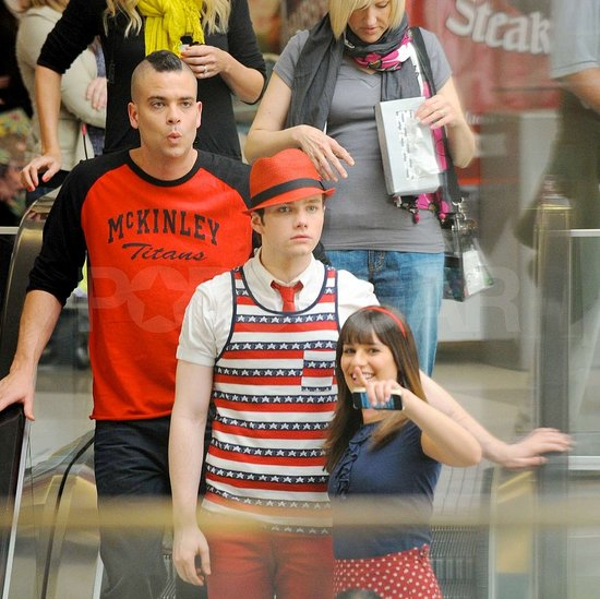 Glee's Lea, Chris, and Mark Hit the Mall and Mull an Extra-Long Gaga Episode