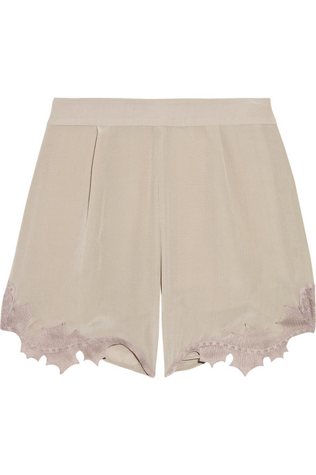 Emma Cook Lace-Trimmed Silk-Georgette Shorts ($230)