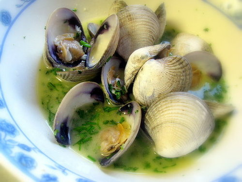 Steamed Clams Drenched in Butter, Herbs, Italian Style