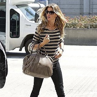 Pictures of Gisele Bundchen Departing Out of LAX in a Striped Top