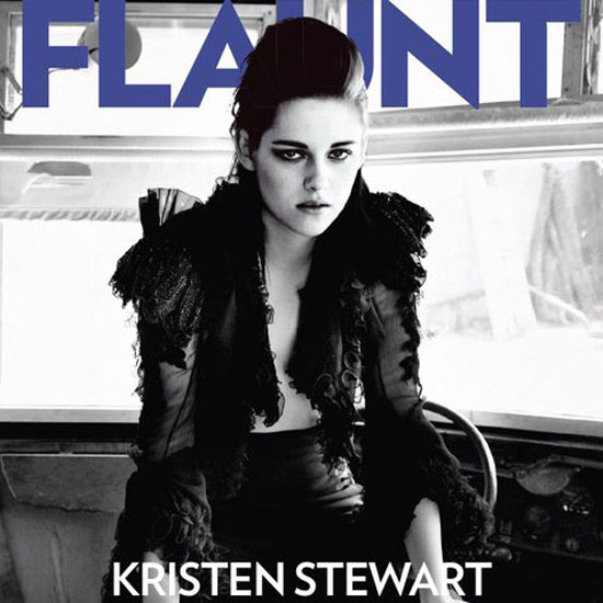 Kristen Stewart let her shirt hang loose on the cover of April 2010's Flaunt.