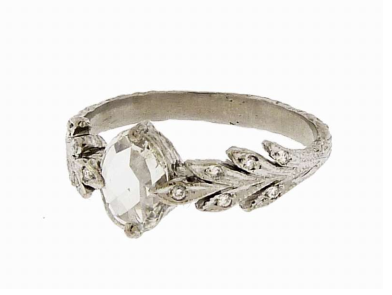 The leaf details is special and still very classic.  Cathy Waterman Small Oval Rose Cut Diamond Leaf Ring ($6,870)