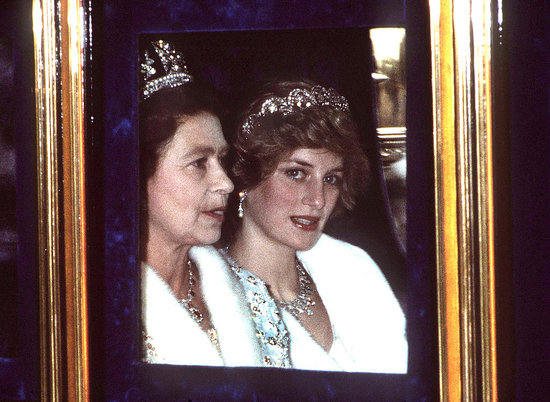 November 1982: Queen Elizabeth II and Princess Diana in London
