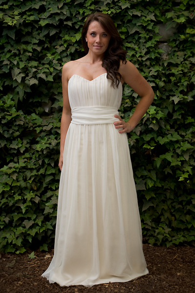 This lovely, simple Threadhead Creations gown ($800) is a mix of silk chiffon and organic cotton.