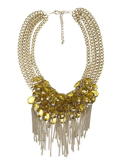 The fringe coming down from the plethora of green citron stones is absolutely gorgeous on this Arden B. necklace ($34).