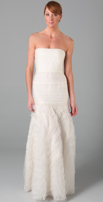 So gorgeously femme without being overtly so; this is ideal for the bride who craves soft glamor, delivered in a modern way.  BCBG Max Azria Marisa Layered Bridal Gown ($1,048)