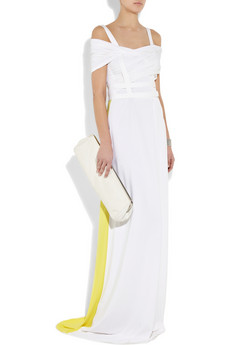 We couldn't help but think of a Gwen Stefani-kind-of bride when we spied this neon-injected Preen gown.  Preen Harness Stretch-Jersey Gown ($2,210)