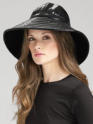 The oversize brim and patent leather on this Eric Javitz hat ($128) has retro Jackie O. appeal.