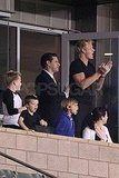 The Adorable Beckham Boys and Gordon Cheer David On to Victory
