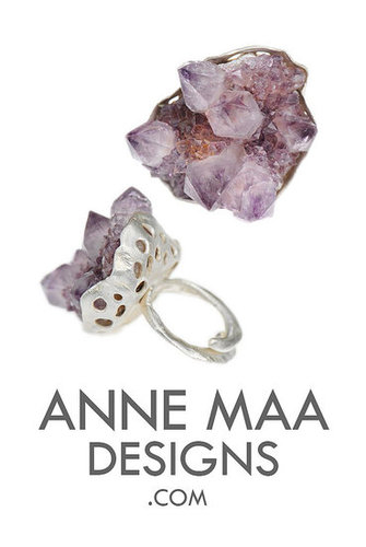 modern organic jewelry. chunky amethyst cluster ring