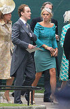Chelsy Davy in custom Alberta Ferretti and Victoria Grant hat