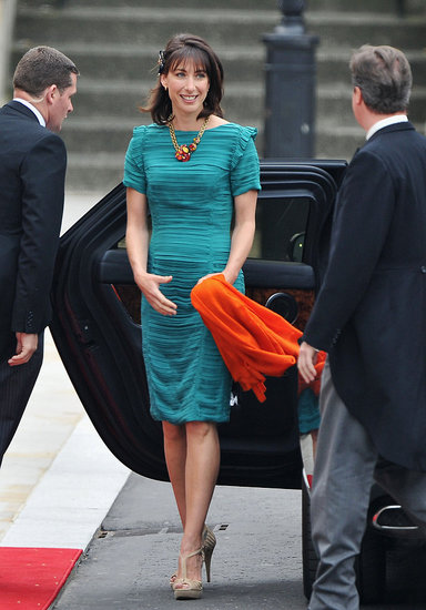 Samantha Cameron in Burberry dress, Aldo shoes and Erdem hairclip