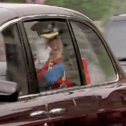 Prince William and Prince Harry Driving to the Royal Wedding