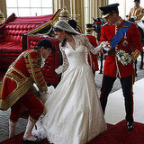 "When they arrived to the palace, Kate asked William to ""watch out for the train."""