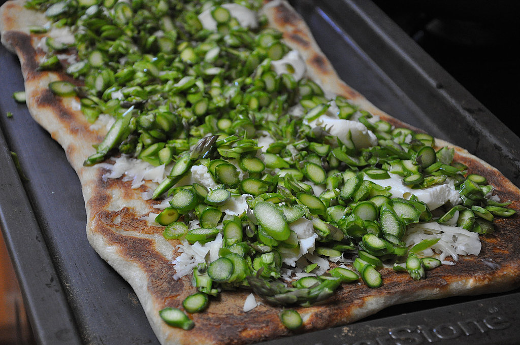 Asparagus, Ricotta, Mozzarella Pizza with a Lemon Vinaigrette