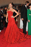 Gisele Bundchen in Ravishing Red McQueen Gets a Carpet Kiss From Tom Brady