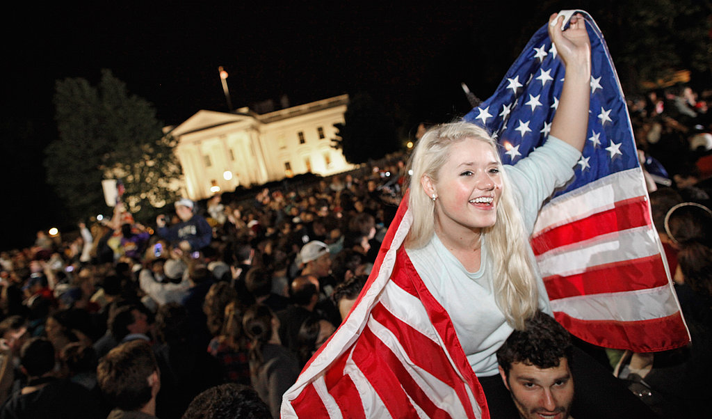 Crowds celebrate outside the White House in Washington DC.