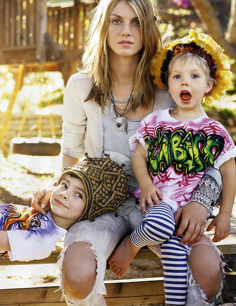 Angela Lindvall with sons Dakota (left) and Sebastian.