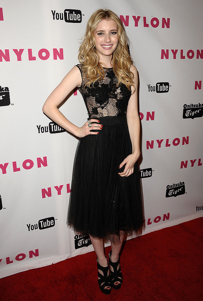 Emma Roberts's take on sheer was party-perfection at Nylon's fête.