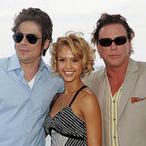 Jessica Alba posed between Benicio Del Toro and Mickey Rourke during a lunch at the festival in 2005.