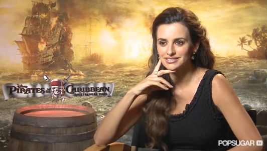 Video: A Mustached Penelope Cruz Makes Johnny Depp Laugh!