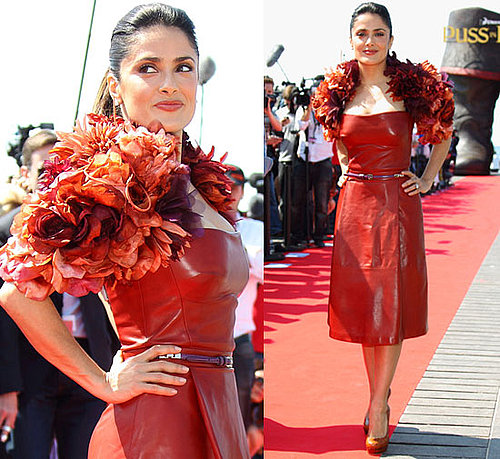Pictures of Salma Hayek in Red Leather Gucci Dress at Cannes Film Festival