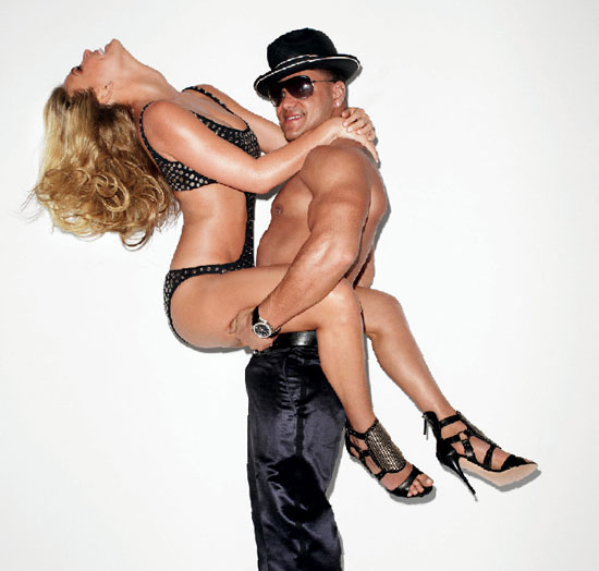 Bar Refaeli posed in a studded one-piece with Jersey Shore's Ronnie for the April 2010 issue of Interview.