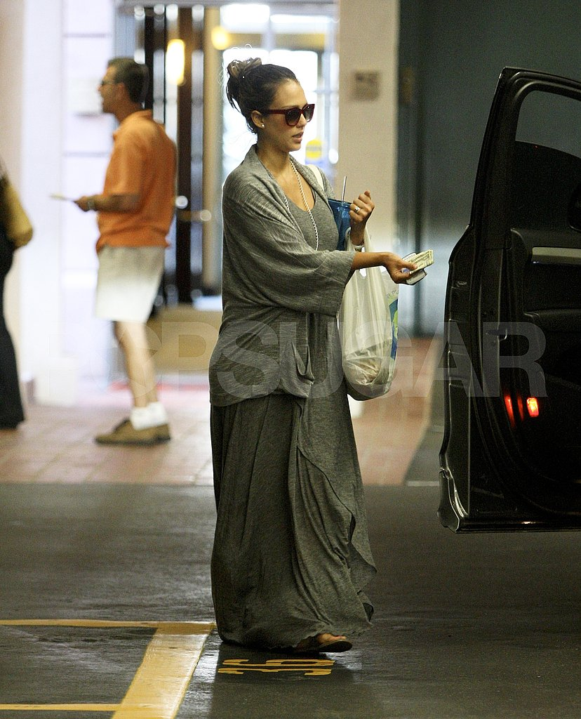 Jessica Alba Stays Hydrated and Well Accessorized With Her Proenza Schouler PS1