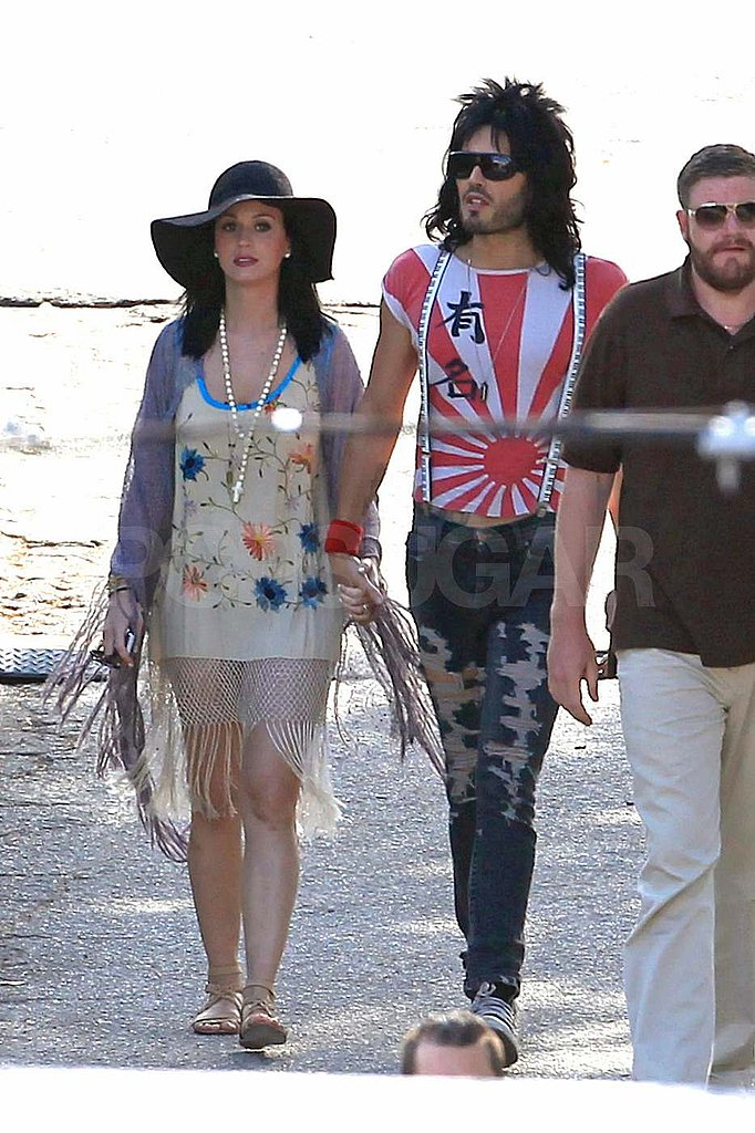 Katy Perry Gets Funky to Visit Russell Brand on the Rock of Ages Set