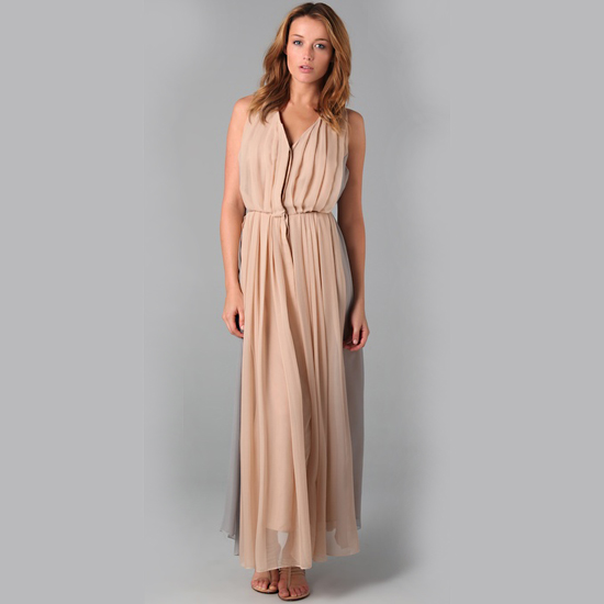 A gauzy, two-toned silk chiffon maxi dress.   Porter Grey Pleated Long Dress, $775
