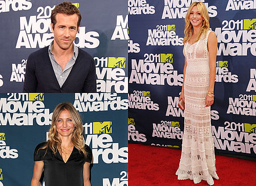 Pictures of Celebrities Blake Lively, Ryan Reynolds, Rosie Huntington-Whiteley at the 2011 MTV Movie Awards