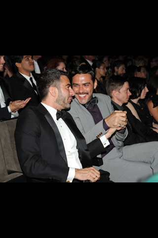Former fiances/on-and-off boyfriends Marc Jacobs and Lorenzo Martone seem to be on friendly terms these days — they sat next to each other at the awards last night.