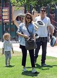 Jessica Alba Puts Her Bump on Display at the Park With Honor and Cash