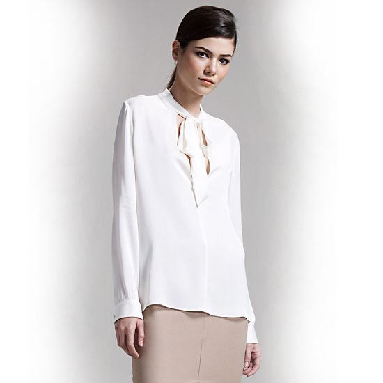 The Row Tie-Neck Georgette Shirt, $890