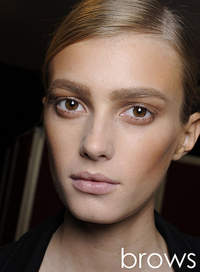 Brow Wow Neatly-groomed, well-defined brows help frame an otherwise bare face. Use clear gels and soft pencils to keep everything in its place.   Chloe Spring 2011, Photo by Greg Kessler