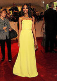 Zoe shone in a canary-yellow Calvin Klein gown at the Met Gala in 2011.