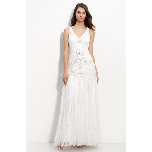 Drop Waist Lace Gown