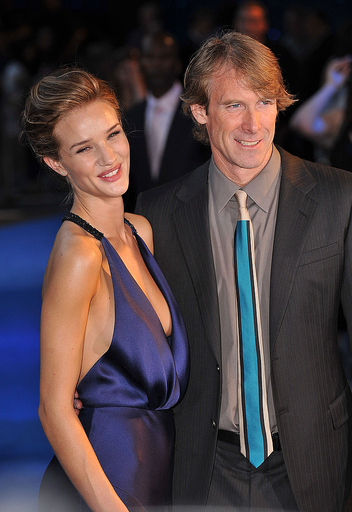 Rosie Huntington-Whiteley and Michael Bay at a Transformers: Dark of the Moon premiere in London.