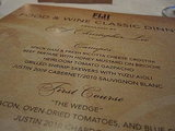 The printed menu, with details of each dish, was waiting for us on our plates.