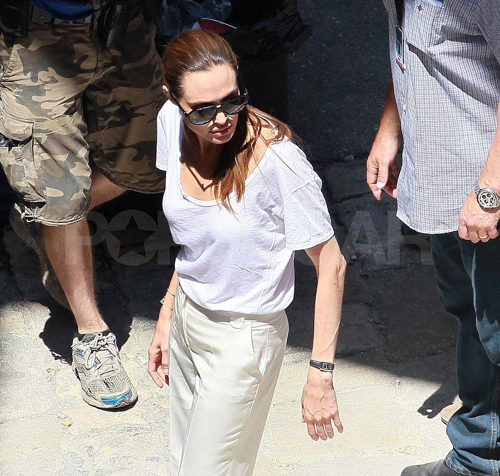 Angelina Jolie wore a neutral white outfit.