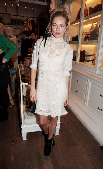Sienna Miller wore white to Ralph Lauren's Wimbledon party.