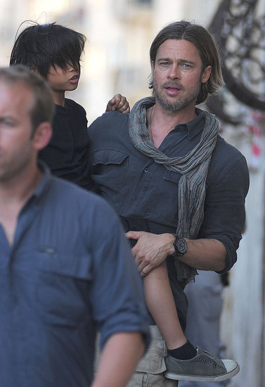 Brad Pitt Carries Pax Around the Maltese Set of World War Z!