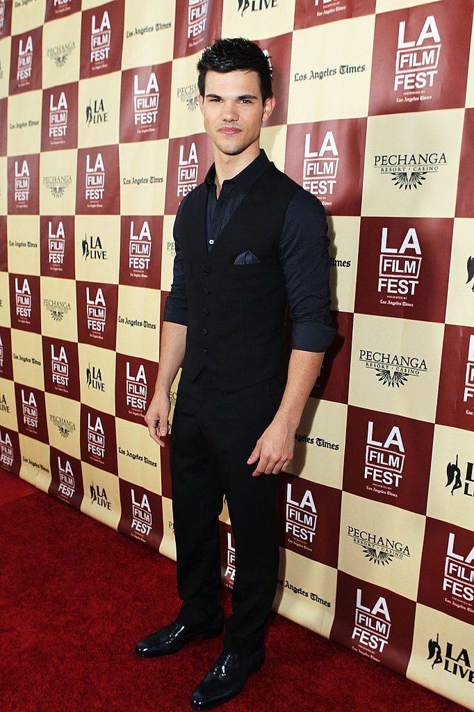 Taylor Lautner wore black and blue to the LA Film Festival.